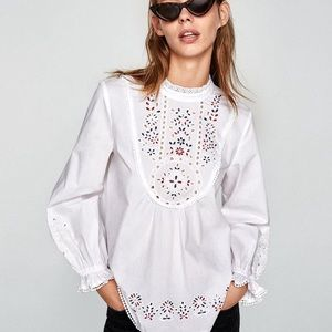 NWT Zara White Long Sleeve Embroidered Blouse